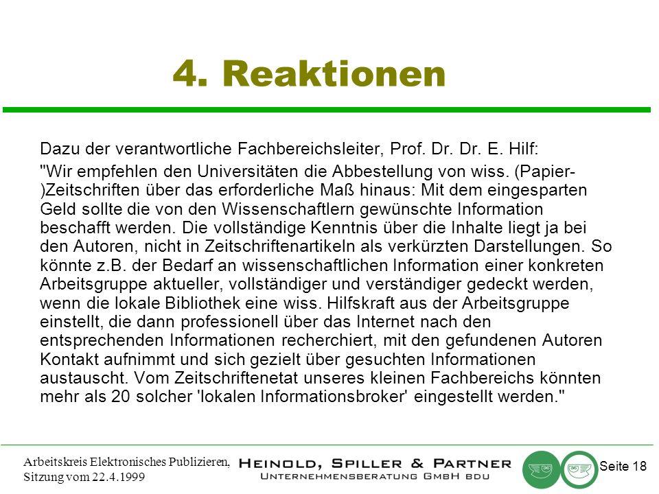 Seite 18 Arbeitskreis Elektronisches Publizieren, Sitzung vom 22.4.1999 4.
