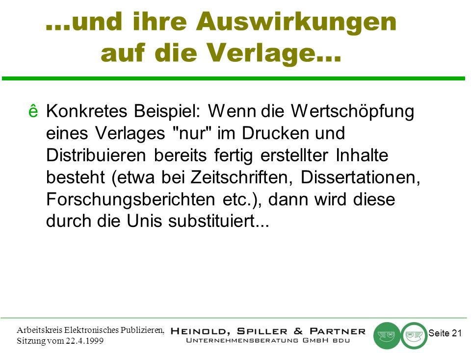 Seite 21 Arbeitskreis Elektronisches Publizieren, Sitzung vom 22.4.1999...und ihre Auswirkungen auf die Verlage...