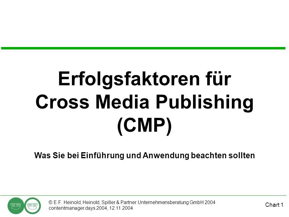 Chart 1 © E.F. Heinold, Heinold, Spiller & Partner Unternehmensberatung GmbH 2004 contentmanager.days 2004, 12.11.2004 Erfolgsfaktoren für Cross Media