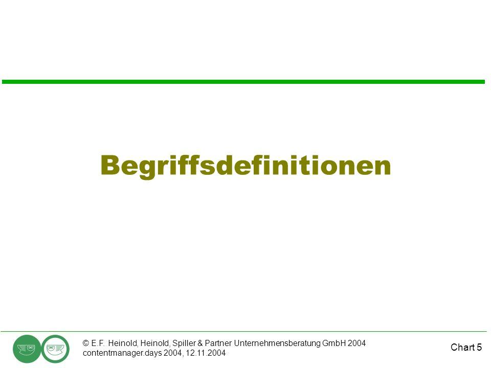 Chart 5 © E.F. Heinold, Heinold, Spiller & Partner Unternehmensberatung GmbH 2004 contentmanager.days 2004, 12.11.2004 Begriffsdefinitionen