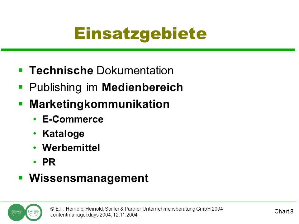 Chart 8 © E.F. Heinold, Heinold, Spiller & Partner Unternehmensberatung GmbH 2004 contentmanager.days 2004, 12.11.2004 Einsatzgebiete Technische Dokum