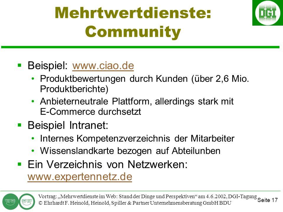 Seite 17 Vortrag: Mehrwertdienste im Web: Stand der Dinge und Perspektiven am 4.6.2002, DGI-Tagung © Ehrhardt F.