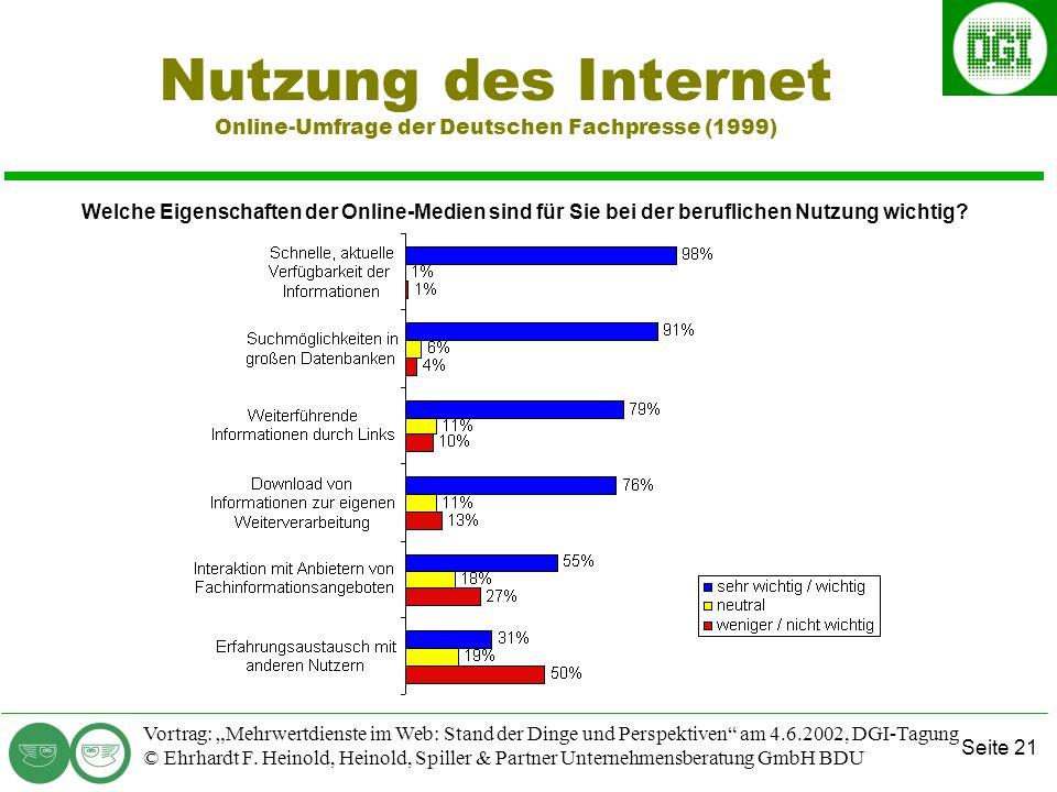 Seite 21 Vortrag: Mehrwertdienste im Web: Stand der Dinge und Perspektiven am 4.6.2002, DGI-Tagung © Ehrhardt F.