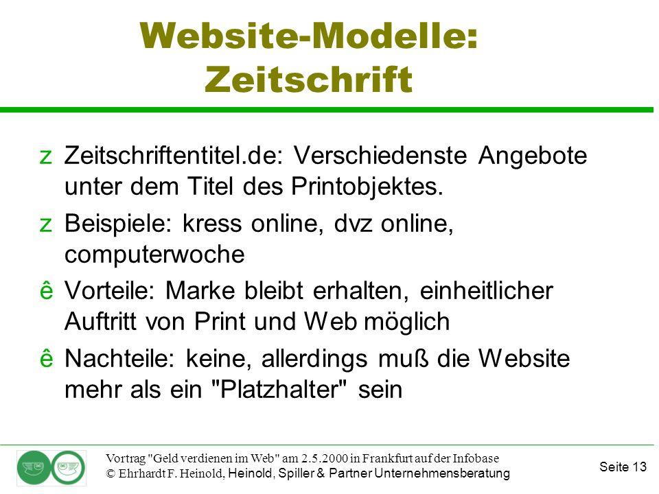 Seite 13 Vortrag Geld verdienen im Web am 2.5.2000 in Frankfurt auf der Infobase © Ehrhardt F.