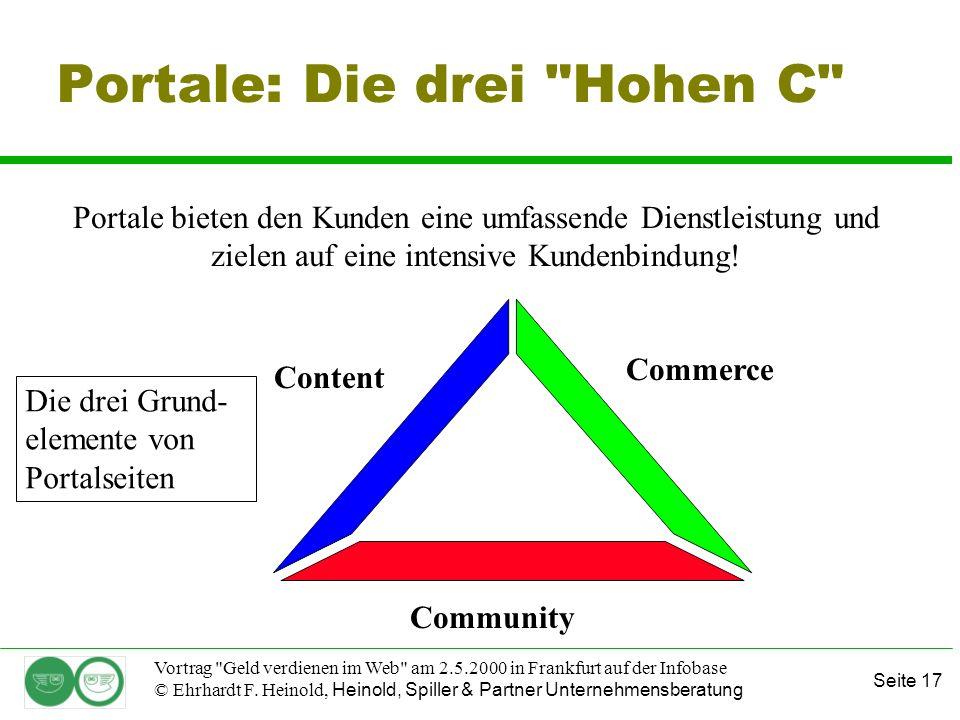 Seite 17 Vortrag Geld verdienen im Web am 2.5.2000 in Frankfurt auf der Infobase © Ehrhardt F.