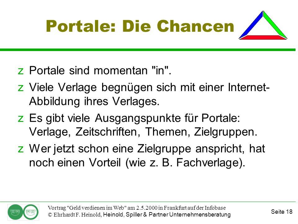 Seite 18 Vortrag Geld verdienen im Web am 2.5.2000 in Frankfurt auf der Infobase © Ehrhardt F.