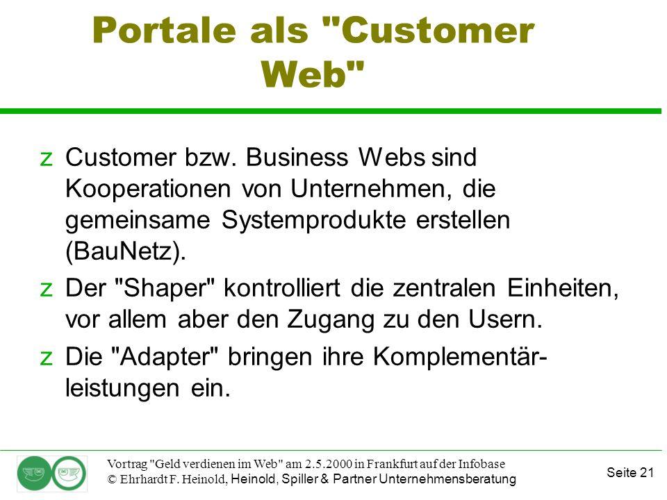 Seite 21 Vortrag Geld verdienen im Web am 2.5.2000 in Frankfurt auf der Infobase © Ehrhardt F.
