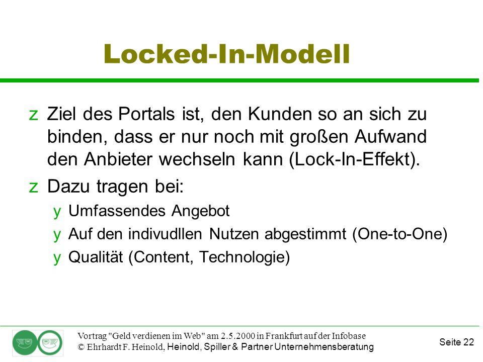 Seite 22 Vortrag Geld verdienen im Web am 2.5.2000 in Frankfurt auf der Infobase © Ehrhardt F.