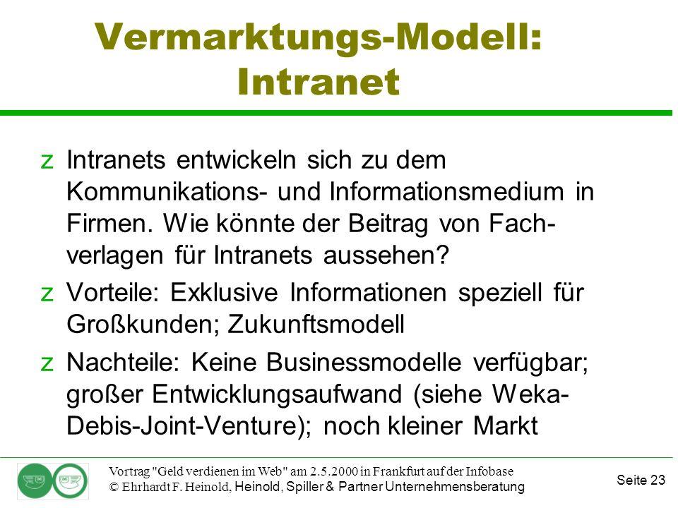 Seite 23 Vortrag Geld verdienen im Web am 2.5.2000 in Frankfurt auf der Infobase © Ehrhardt F.