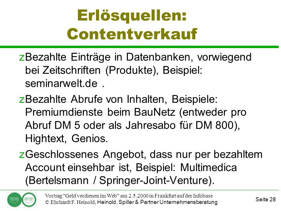 Seite 28 Vortrag Geld verdienen im Web am 2.5.2000 in Frankfurt auf der Infobase © Ehrhardt F.