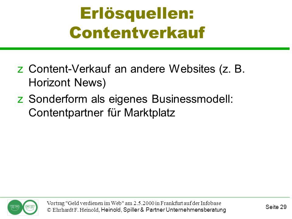 Seite 29 Vortrag Geld verdienen im Web am 2.5.2000 in Frankfurt auf der Infobase © Ehrhardt F.
