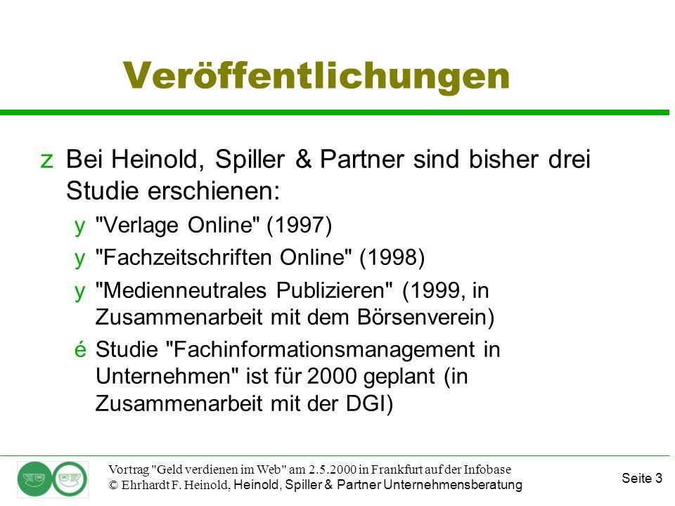 Seite 14 Vortrag Geld verdienen im Web am 2.5.2000 in Frankfurt auf der Infobase © Ehrhardt F.