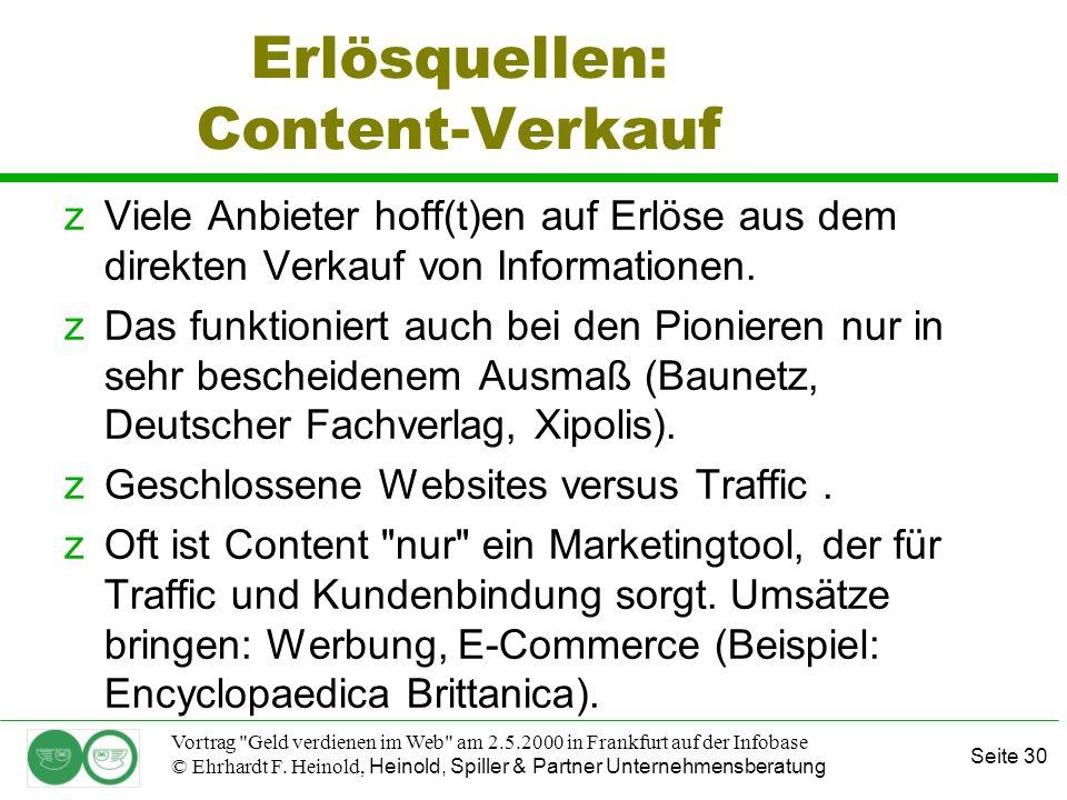 Seite 30 Vortrag Geld verdienen im Web am 2.5.2000 in Frankfurt auf der Infobase © Ehrhardt F.