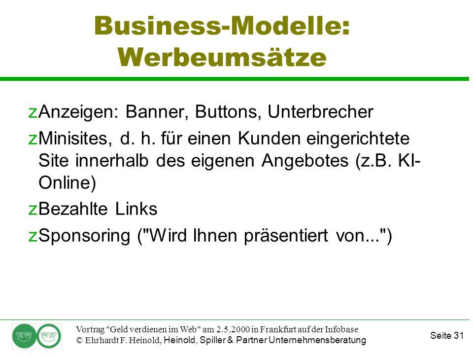 Seite 31 Vortrag Geld verdienen im Web am 2.5.2000 in Frankfurt auf der Infobase © Ehrhardt F.