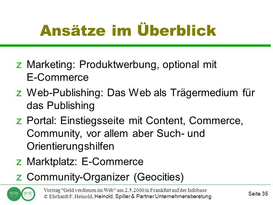 Seite 35 Vortrag Geld verdienen im Web am 2.5.2000 in Frankfurt auf der Infobase © Ehrhardt F.