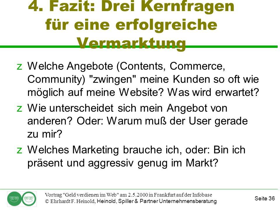 Seite 36 Vortrag Geld verdienen im Web am 2.5.2000 in Frankfurt auf der Infobase © Ehrhardt F.