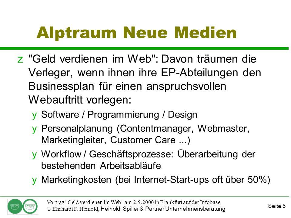 Seite 16 Vortrag Geld verdienen im Web am 2.5.2000 in Frankfurt auf der Infobase © Ehrhardt F.