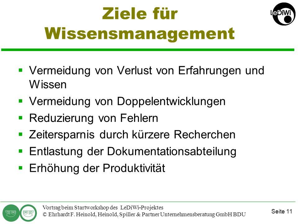 Seite 10 Vortrag beim Startworkshop des LeDiWi-Projektes © Ehrhardt F. Heinold, Heinold, Spiller & Partner Unternehmensberatung GmbH BDU Ziele und Nut