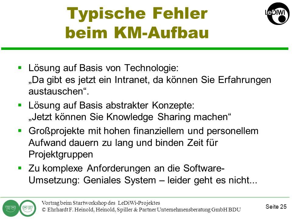 Seite 24 Vortrag beim Startworkshop des LeDiWi-Projektes © Ehrhardt F. Heinold, Heinold, Spiller & Partner Unternehmensberatung GmbH BDU Wissens-Quell