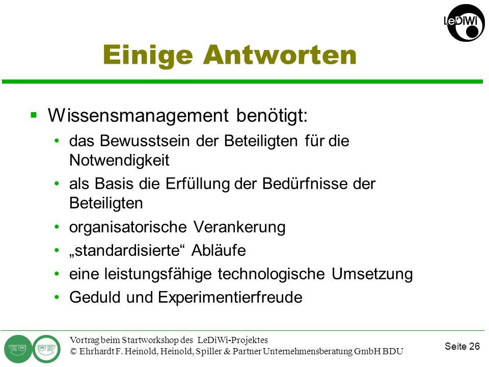 Seite 25 Vortrag beim Startworkshop des LeDiWi-Projektes © Ehrhardt F. Heinold, Heinold, Spiller & Partner Unternehmensberatung GmbH BDU Typische Fehl