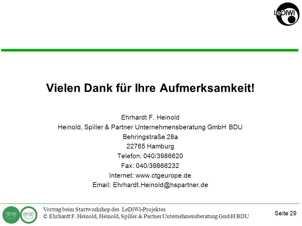 Seite 28 Vortrag beim Startworkshop des LeDiWi-Projektes © Ehrhardt F. Heinold, Heinold, Spiller & Partner Unternehmensberatung GmbH BDU Exkurs Fachve