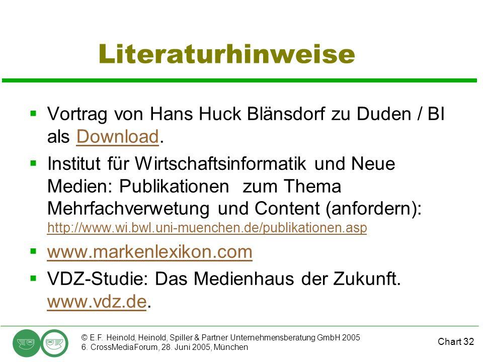 Chart 32 © E.F. Heinold, Heinold, Spiller & Partner Unternehmensberatung GmbH 2005 6. CrossMediaForum, 28. Juni 2005, München Literaturhinweise Vortra