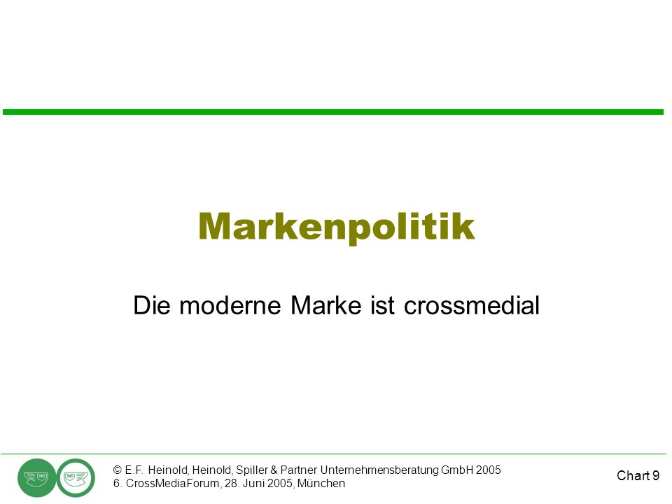 Chart 9 © E.F. Heinold, Heinold, Spiller & Partner Unternehmensberatung GmbH 2005 6. CrossMediaForum, 28. Juni 2005, München Markenpolitik Die moderne