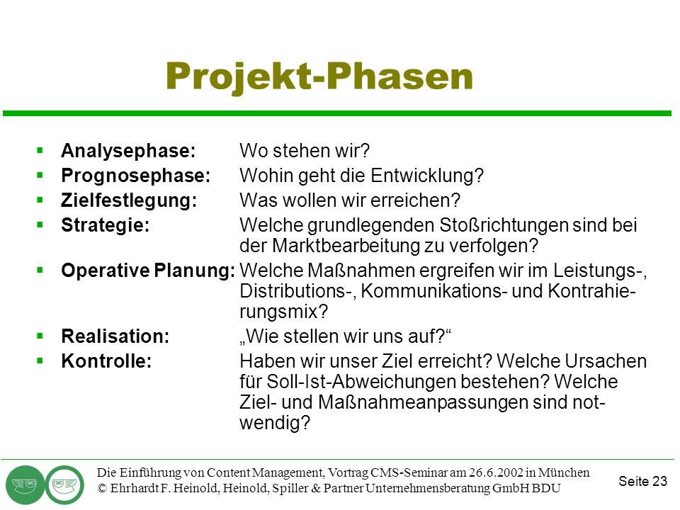Seite 23 Die Einführung von Content Management, Vortrag CMS-Seminar am 26.6.2002 in München © Ehrhardt F. Heinold, Heinold, Spiller & Partner Unterneh