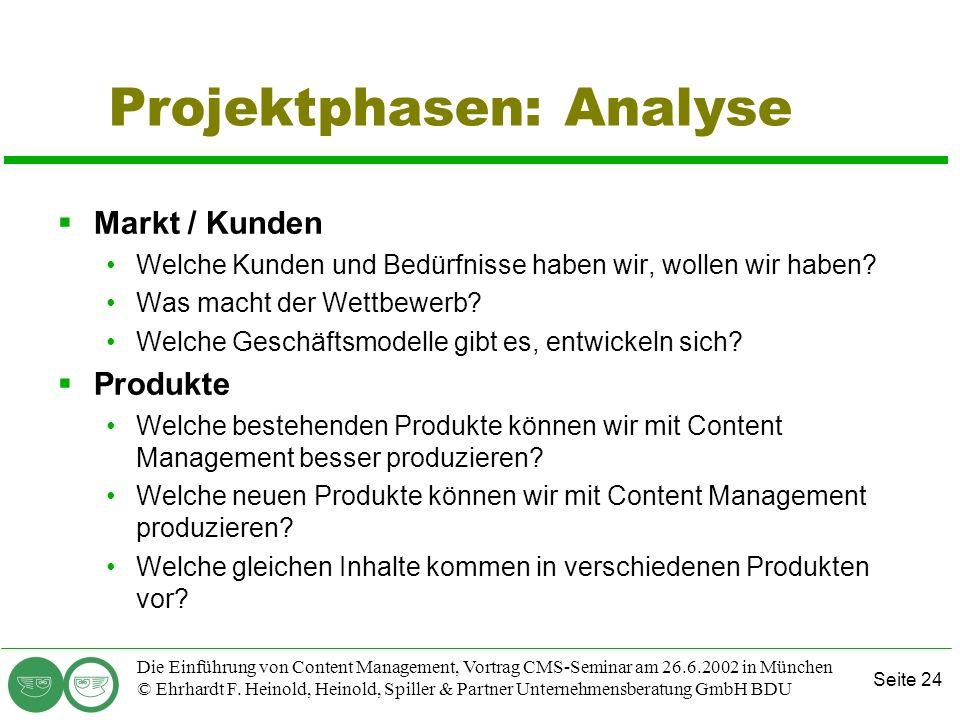 Seite 24 Die Einführung von Content Management, Vortrag CMS-Seminar am 26.6.2002 in München © Ehrhardt F. Heinold, Heinold, Spiller & Partner Unterneh
