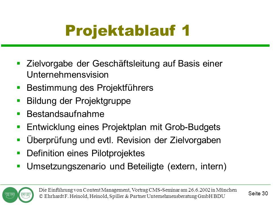 Seite 30 Die Einführung von Content Management, Vortrag CMS-Seminar am 26.6.2002 in München © Ehrhardt F. Heinold, Heinold, Spiller & Partner Unterneh