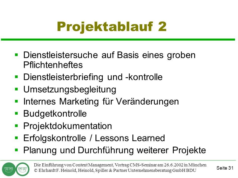 Seite 31 Die Einführung von Content Management, Vortrag CMS-Seminar am 26.6.2002 in München © Ehrhardt F. Heinold, Heinold, Spiller & Partner Unterneh