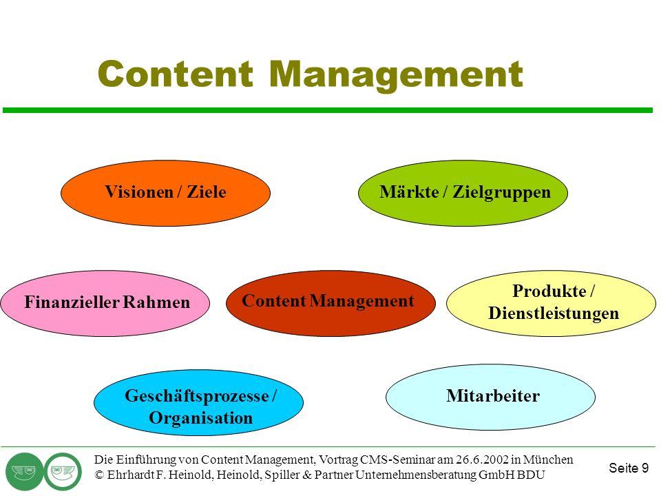 Seite 9 Die Einführung von Content Management, Vortrag CMS-Seminar am 26.6.2002 in München © Ehrhardt F. Heinold, Heinold, Spiller & Partner Unternehm