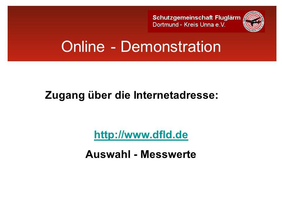 Online - Demonstration Zugang über die Internetadresse: http://www.dfld.de Auswahl - Messwerte