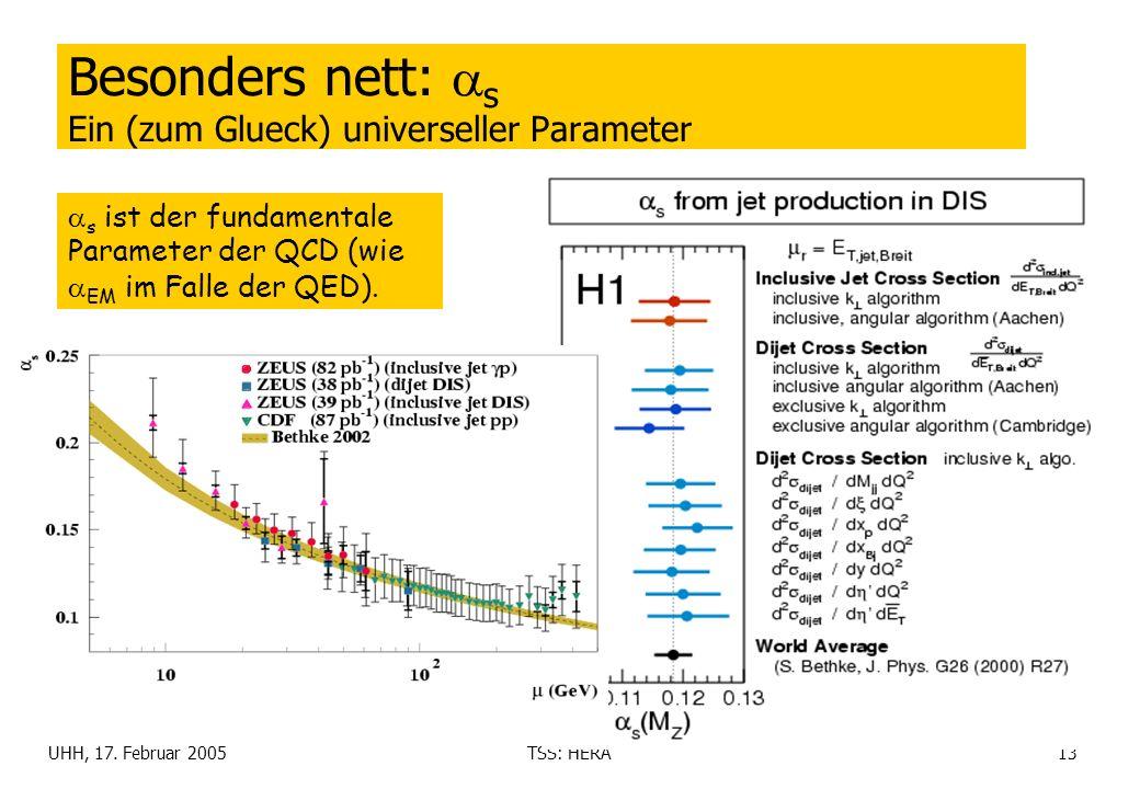 UHH, 17. Februar 2005TSS: HERA13 Besonders nett: s Ein (zum Glueck) universeller Parameter s ist der fundamentale Parameter der QCD (wie EM im Falle d