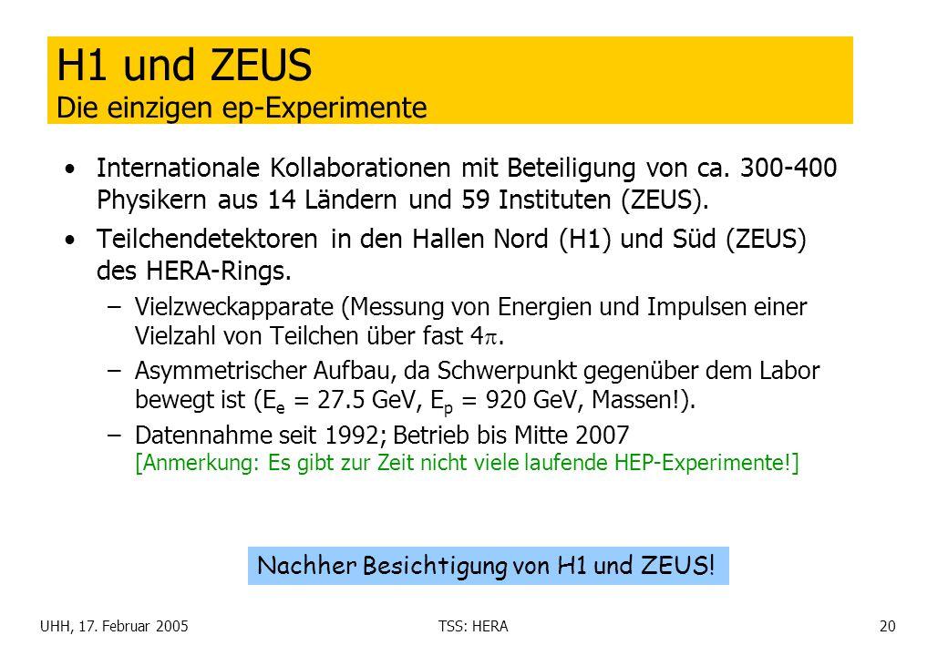 UHH, 17. Februar 2005TSS: HERA20 H1 und ZEUS Die einzigen ep-Experimente Internationale Kollaborationen mit Beteiligung von ca. 300-400 Physikern aus