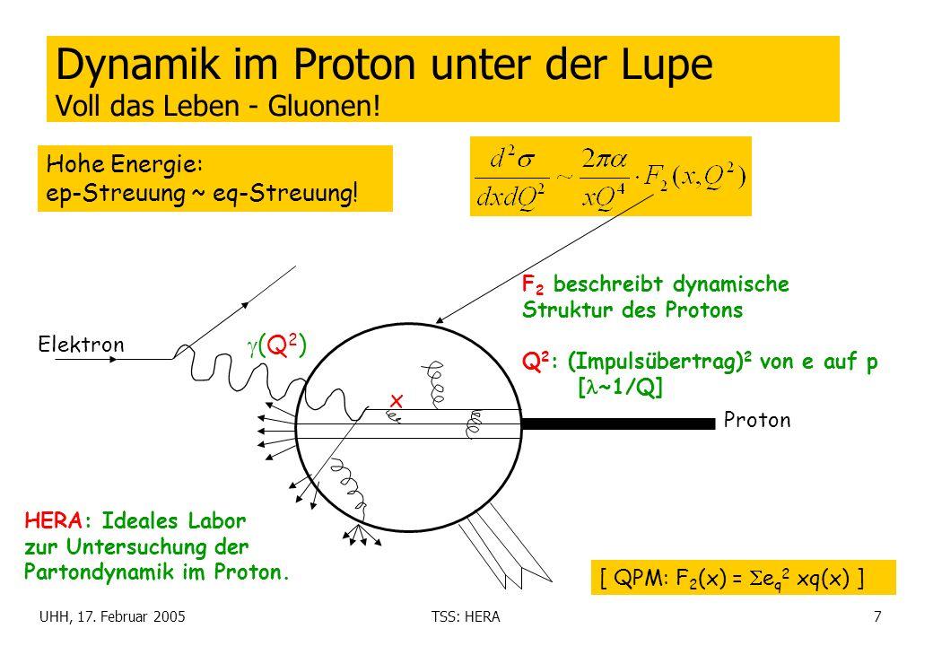 UHH, 17. Februar 2005TSS: HERA7 Dynamik im Proton unter der Lupe Voll das Leben - Gluonen! F 2 beschreibt dynamische Struktur des Protons Q 2 : (Impul