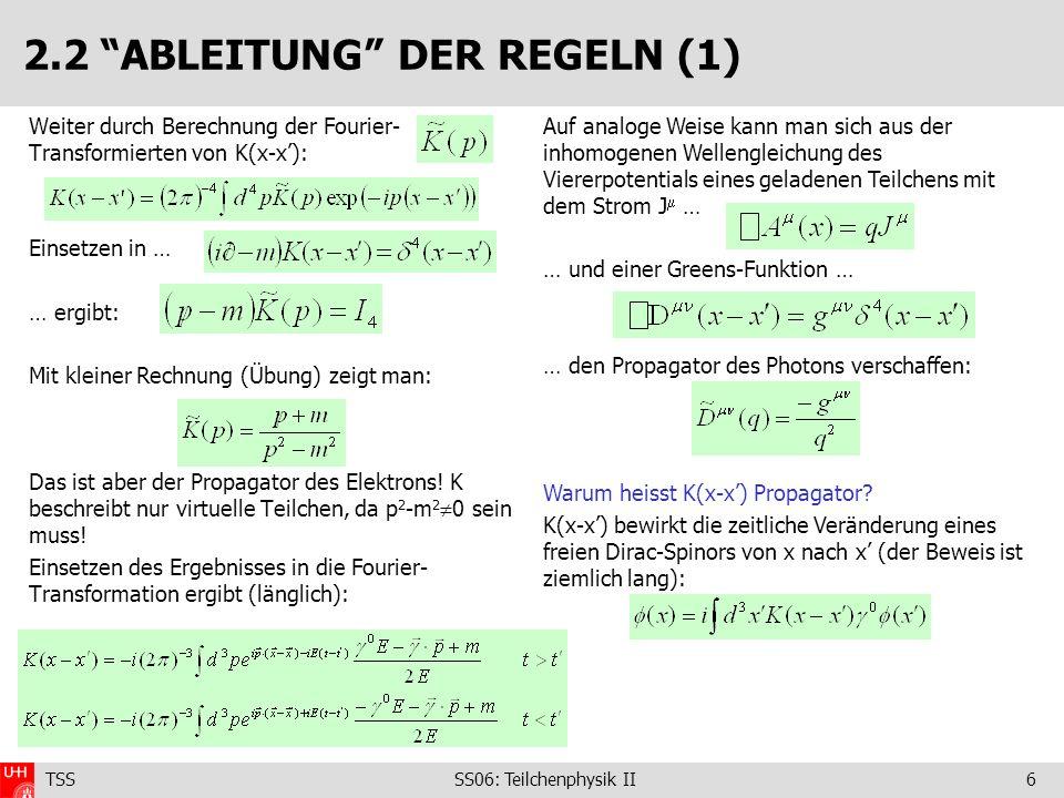 TSS SS06: Teilchenphysik II6 2.2 ABLEITUNG DER REGELN (1) Weiter durch Berechnung der Fourier- Transformierten von K(x-x): Einsetzen in … … ergibt: Mit kleiner Rechnung (Übung) zeigt man: Das ist aber der Propagator des Elektrons.