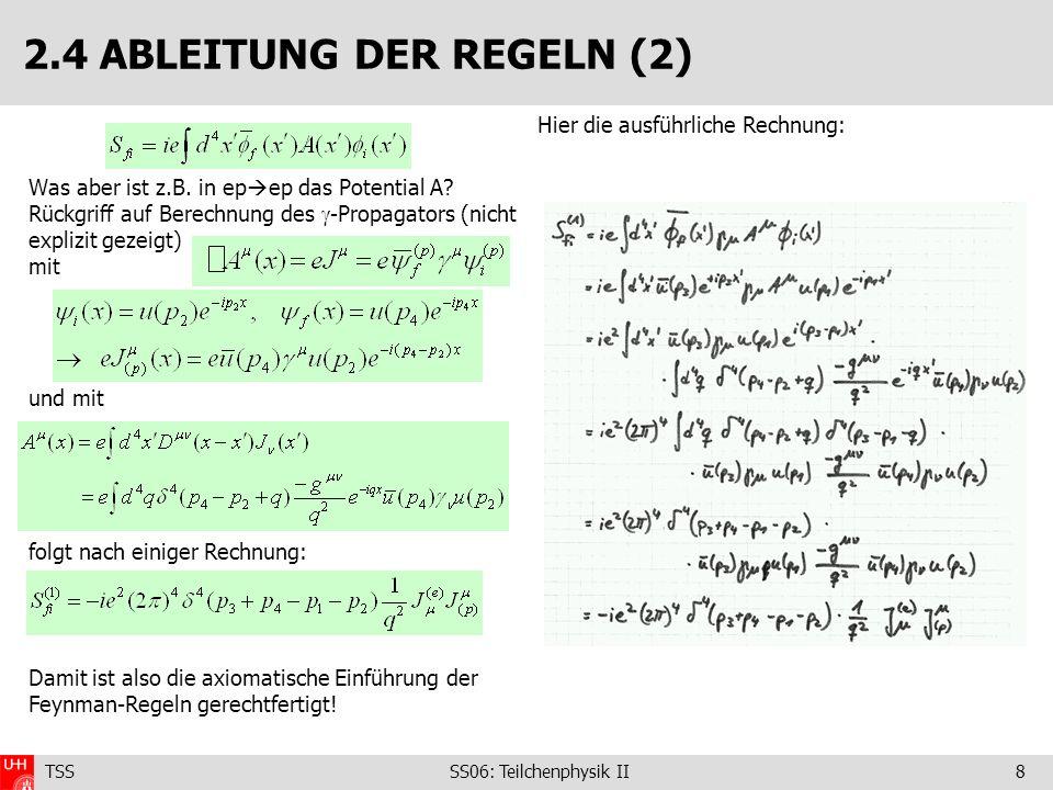 TSS SS06: Teilchenphysik II8 2.4 ABLEITUNG DER REGELN (2) Was aber ist z.B. in ep ep das Potential A? Rückgriff auf Berechnung des -Propagators (nicht