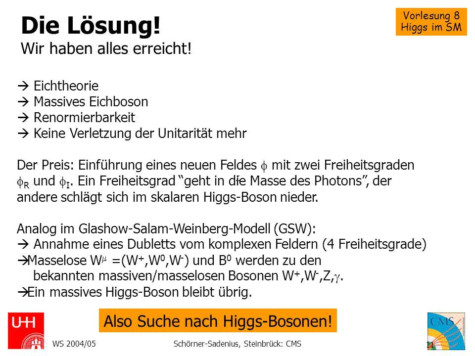 Vorlesung 8 Higgs im SM WS 2004/05Schörner-Sadenius, Steinbrück: CMS 11 Die Lösung! Wir haben alles erreicht! Eichtheorie Massives Eichboson Renormier
