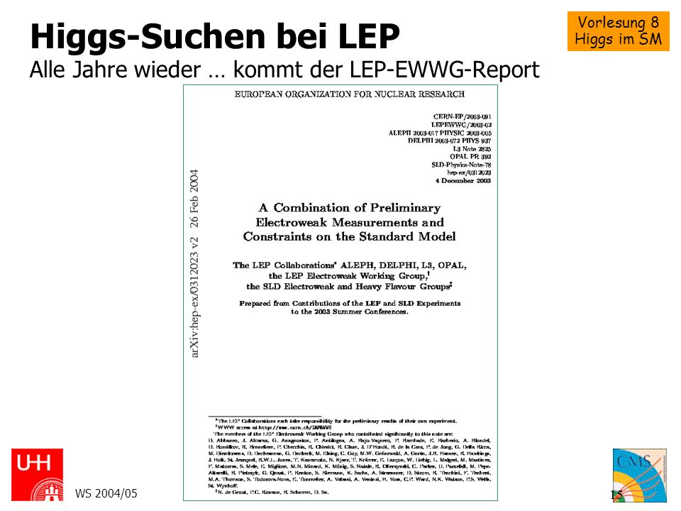 Vorlesung 8 Higgs im SM WS 2004/05Schörner-Sadenius, Steinbrück: CMS 15 Higgs-Suchen bei LEP Alle Jahre wieder … kommt der LEP-EWWG-Report