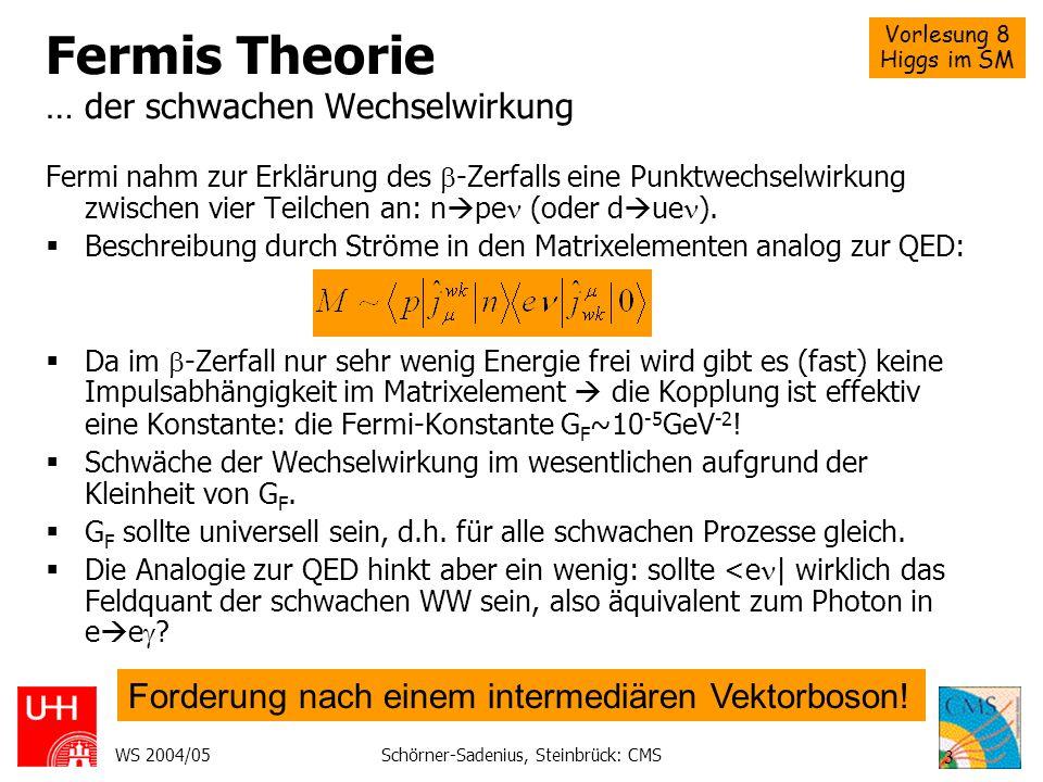 Vorlesung 8 Higgs im SM WS 2004/05Schörner-Sadenius, Steinbrück: CMS 3 Fermis Theorie … der schwachen Wechselwirkung Fermi nahm zur Erklärung des -Zer