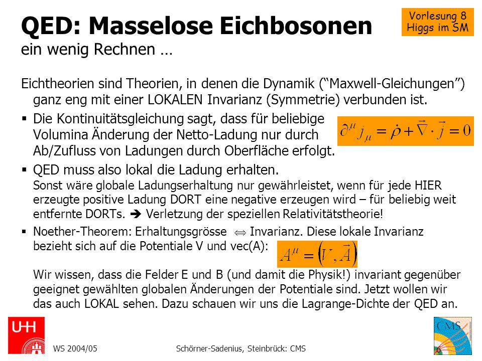 Vorlesung 8 Higgs im SM WS 2004/05Schörner-Sadenius, Steinbrück: CMS 6 QED: Masselose Eichbosonen ein wenig Rechnen … Eichtheorien sind Theorien, in d