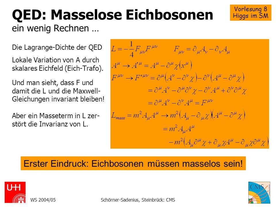 Vorlesung 8 Higgs im SM WS 2004/05Schörner-Sadenius, Steinbrück: CMS 7 QED: Masselose Eichbosonen ein wenig Rechnen … Die Lagrange-Dichte der QED Loka