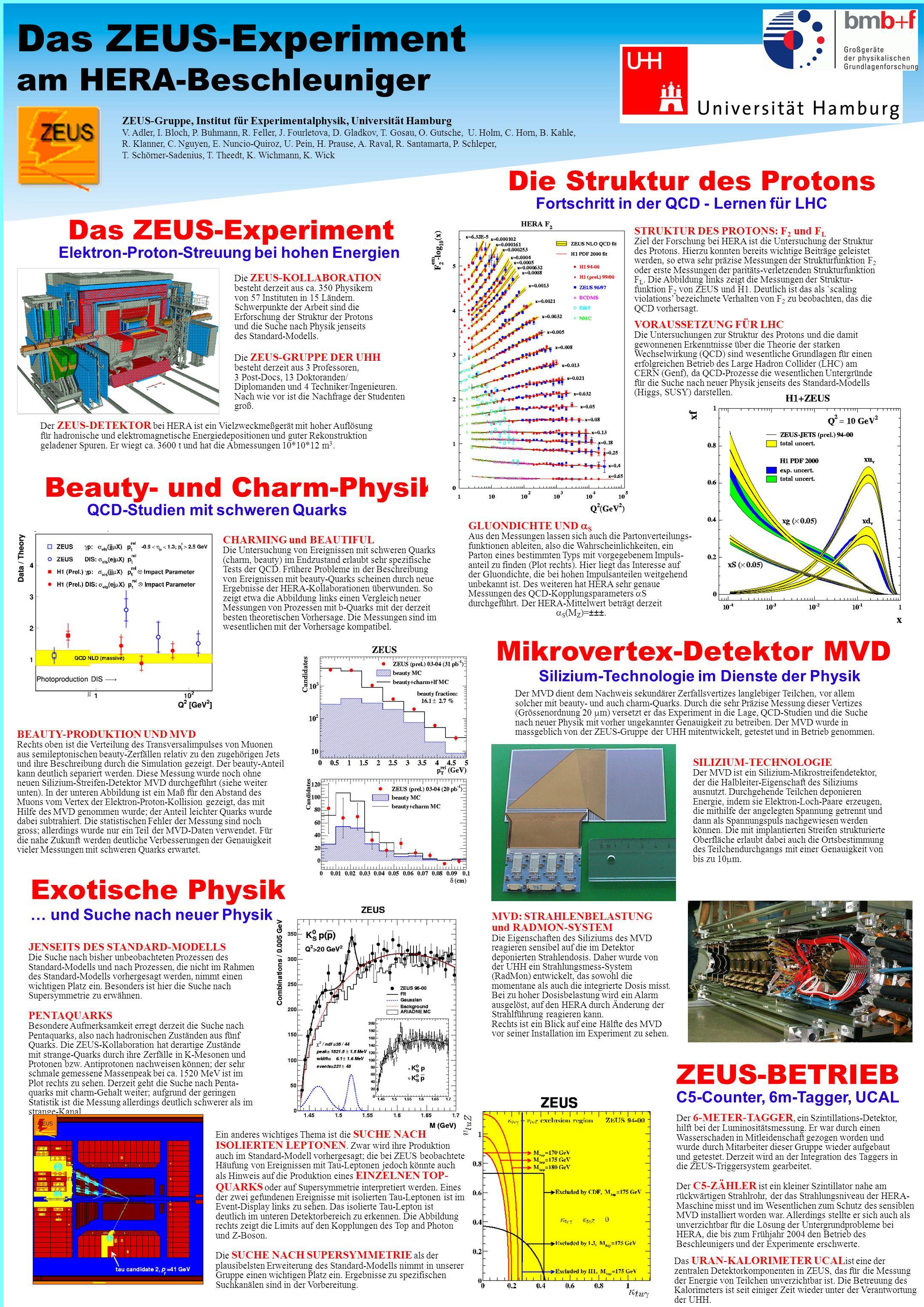 Das ZEUS-Experiment am HERA-Beschleuniger Das ZEUS-Experiment Elektron-Proton-Streuung bei hohen Energien Die ZEUS-KOLLABORATION besteht derzeit aus ca.