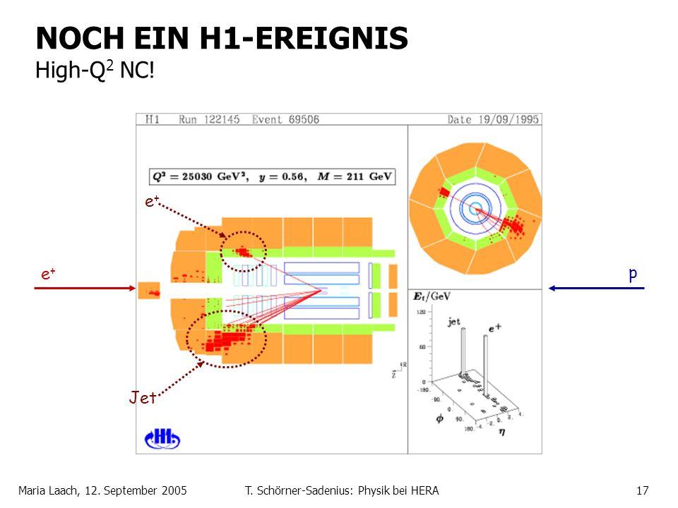 Maria Laach, 12. September 2005T. Schörner-Sadenius: Physik bei HERA17 NOCH EIN H1-EREIGNIS High-Q 2 NC! e+e+ Jet e+e+ p
