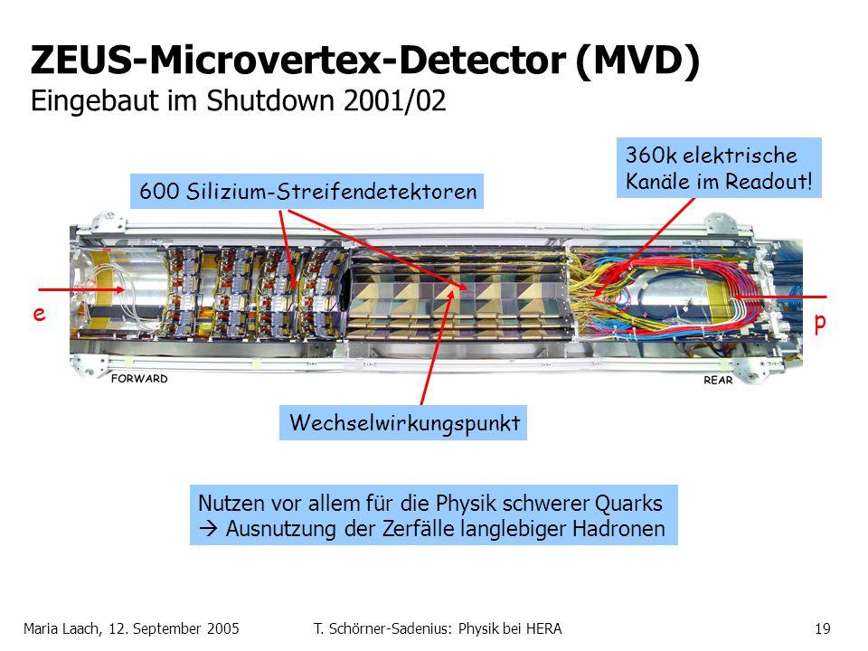 Maria Laach, 12. September 2005T. Schörner-Sadenius: Physik bei HERA19 ZEUS-Microvertex-Detector (MVD) Eingebaut im Shutdown 2001/02 e p Wechselwirkun