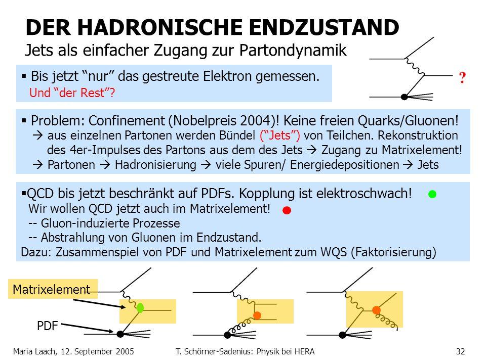 Maria Laach, 12. September 2005T. Schörner-Sadenius: Physik bei HERA32 DER HADRONISCHE ENDZUSTAND Jets als einfacher Zugang zur Partondynamik Problem: