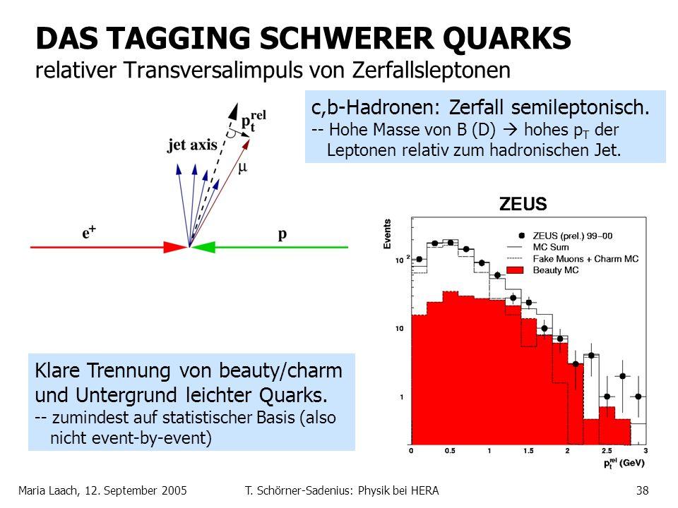 Maria Laach, 12. September 2005T. Schörner-Sadenius: Physik bei HERA38 DAS TAGGING SCHWERER QUARKS relativer Transversalimpuls von Zerfallsleptonen Kl