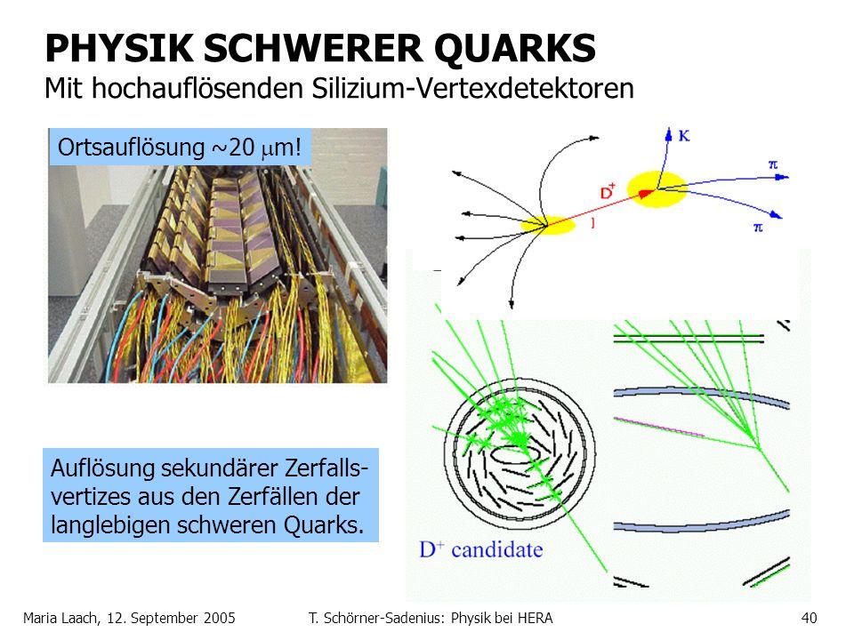 Maria Laach, 12. September 2005T. Schörner-Sadenius: Physik bei HERA40 PHYSIK SCHWERER QUARKS Mit hochauflösenden Silizium-Vertexdetektoren Ortsauflös