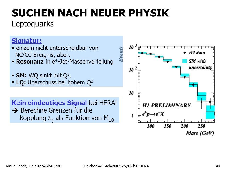 Maria Laach, 12. September 2005T. Schörner-Sadenius: Physik bei HERA48 SUCHEN NACH NEUER PHYSIK Leptoquarks Signatur: einzeln nicht unterscheidbar von